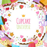 Sweet cupcakes background. Colorful illustration Stock Photo