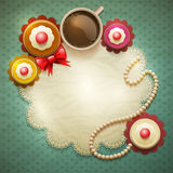 Sweet cupcakes background vector illustration