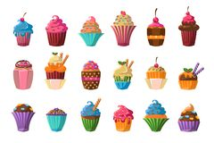 Sweet cupcakes big set, creamy pastries decorated with waffles, candies, strawberry, cherry, chocolate vector. Illustration on a white background Royalty Free Stock Photography