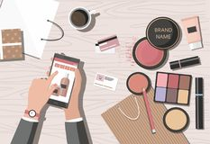 Sweet cupcakes, birthday cake and gifts.Make-up products on the table. Online beauty shop. vector illustration