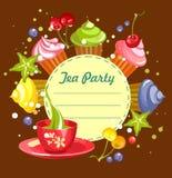 Sweet cupcakes card Royalty Free Stock Image