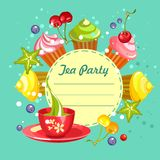 Sweet cupcakes card Royalty Free Stock Photography