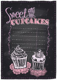 Sweet cupcakes chalkboard. Royalty Free Stock Photo