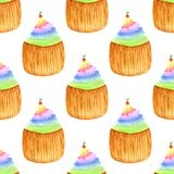 Sweet cupcakes with cherry. Seamless vector pattern. Hand drawn rainbow watercolor painting. Royalty Free Stock Photo