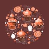 Sweet cupcakes circle figure. Tasty vector illustration Stock Image