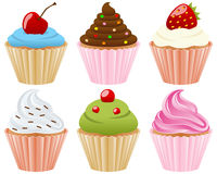 Sweet Cupcakes Collection. Collection of six sweet cupcakes, isolated on white background. Eps file available Royalty Free Stock Photo