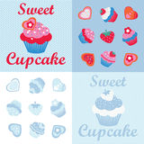 Sweet cupcakes desingn set Stock Photos