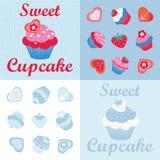 Sweet cupcakes desingn set. Sweet cupcakes and cookies design set pattern stock illustration