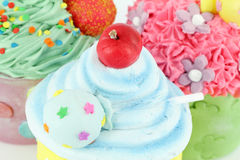 Sweet cupcakes dessert food background Stock Photos