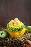 Sweet cupcakes with eggs on hay Stock Photo