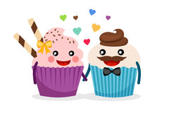 Sweet cupcakes holding hands. Cupcake couple vector illustration. Sweet cupcakes hold hands isolated on white background with confetti Stock Image