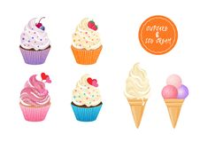 Sweet cupcakes and ice cream vector set. On white background for greeting cards and banners Royalty Free Stock Photos