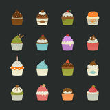 Sweet cupcakes icons Royalty Free Stock Images
