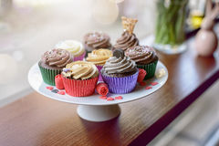 Sweet cupcakes with little heart candies Royalty Free Stock Photography