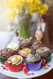 Sweet cupcakes with little heart candies Royalty Free Stock Photos