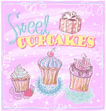 Sweet cupcakes menu. Royalty Free Stock Image