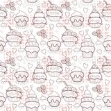 Sweet cupcakes. Pattern of sweet cupcakes. Vector illustration Stock Photography