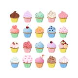 Sweet cupcakes set. Sweet cupcakes set with decoration and fillings Stock Images