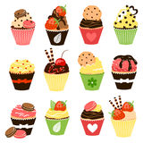 Sweet cupcakes set. Vector collection Stock Image