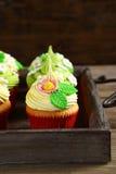 Sweet cupcakes on a tray Stock Photos