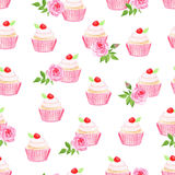 Sweet cupcakes vector seamless pattern Royalty Free Stock Photography