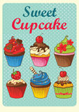 Sweet cupcakes vintage style royalty free illustration