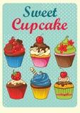 Sweet cupcakes vintage style. Sweet cupcakes design set pattern retro style royalty free illustration
