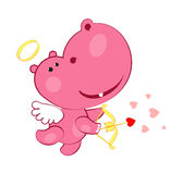 Sweet cupid hippopotamus vector illustration