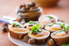 Sweet curd cupcakes with hazelnuts Royalty Free Stock Photography