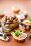 Sweet curd cupcakes with hazelnuts Royalty Free Stock Image