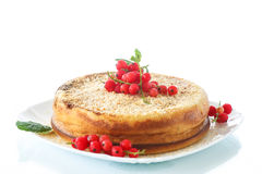 Sweet curd pudding with berries Royalty Free Stock Photography