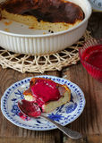 Sweet curd pudding with berry jam on a plate Stock Photography