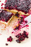 Sweet currant cherry pie with powdered sugar Royalty Free Stock Image