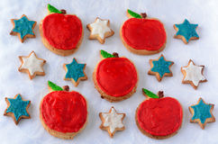 Sweet cut-out cookies  for Rosh Hashanah Jewish New Year holiday Royalty Free Stock Photos