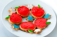 Sweet cut-out cookies  for Rosh Hashanah Jewish New Year holiday. Sweet cut-out cookies in a shapes of apples and star of David decorated for Rosh Hashanah Royalty Free Stock Photo