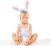 Sweet cute baby. In costume easter bunny Royalty Free Stock Photo
