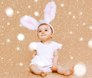 Sweet cute baby in costume easter bunny Stock Photo