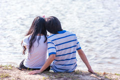 Sweet Cute Couple Relaxing in Park Stock Photography