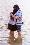 Sweet Cute Couple Relaxing in Park Stock Images