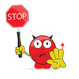 Sweet and cute devil with sign stop vector Royalty Free Stock Images