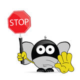 Sweet and cute elephant with sign stop vector Royalty Free Stock Photography
