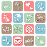 Sweet Cute Icons Set Stock Photography