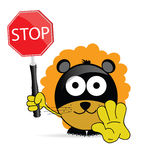 Sweet and cute lion with sign stop vector Stock Image