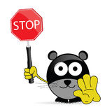 Sweet and cute mouse with sign stop vector Royalty Free Stock Image