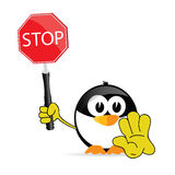 Sweet and cute penguin with sign stop vector Royalty Free Stock Photo