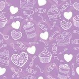Sweet cute valentine desserts pattern Stock Photography