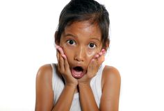 Sweet and cute 7 or 8 years old female child shocked and surprised opening mouth in disbelief and surprise face expression stock photo