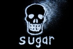Danger of sugar. Harm white sugar concept forming a skull. With text isolated on a black background. The sweet danger of sugar. Harm white sugar concept forming stock photos