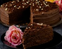 Dark brown chocolate cake with decoration Royalty Free Stock Photos