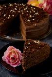 Dark brown chocolate cake with decoration Royalty Free Stock Photo